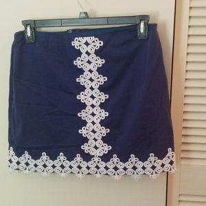 Lily Pulitzer navy crochet mini skirt